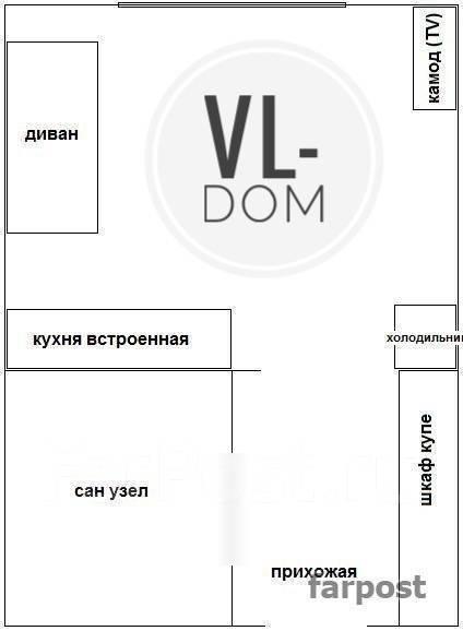 1-комнатная, улица Адмирала Фокина 17. Центр, 32кв.м. План квартиры