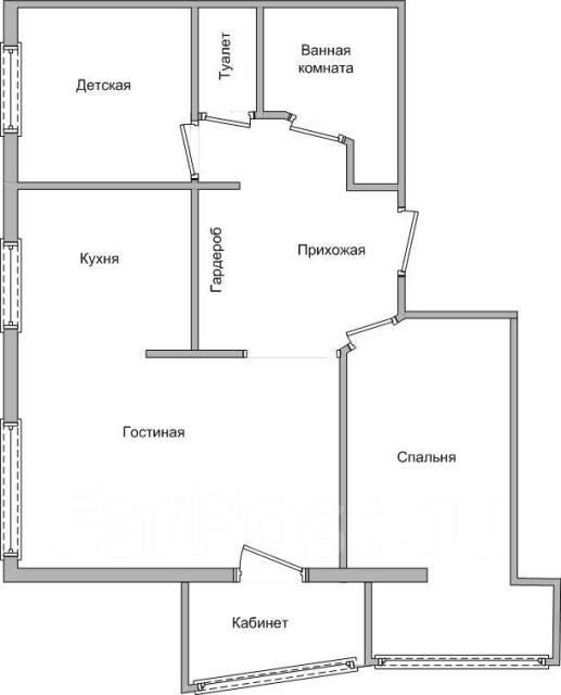 3-комнатная, улица Невельского 21. 64, 71 микрорайоны, частное лицо, 55кв.м. План квартиры