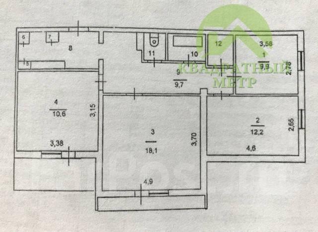 3-комнатная, улица Ленина 120. Центр, агентство, 71кв.м. План квартиры