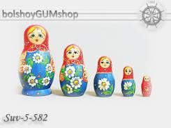 """Матрешка российская/ 5 кукол, 48*90мм """"ВЕНОК"""" /Артикул: suv-5-582"""