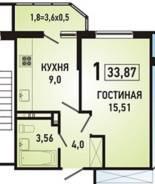 1-комнатная, улица Героя Яцкова 15 кор. 1. Пррикубанский, частное лицо, 34кв.м.