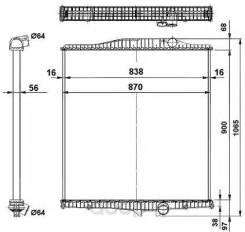 Радиатор системы охлаждения! без рамки 900x838x56 volvo fh 93 NRF арт. 519702 Nrf 519702_