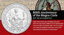 Австралия 20 центов 2015 Magna Carta. Unc. Карточка (вариант 2)