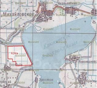 Продам земельный участок 626 Га. 62 600 000кв.м., собственность, электричество, вода, от частного лица (собственник). План (чертёж, схема) участка