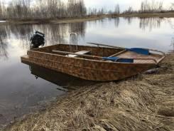 Плоскодонная лодка типа джонбот. 2015 год год, длина 4,50м., двигатель подвесной, бензин