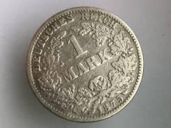 1 марка. Германская империя. 1875 G (Карлсруэ). Серебро