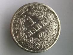 1 марка. Германская империя. 1880 F (Штутгарт). Серебро