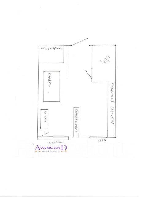1-комнатная, проспект Океанский 105. Первая речка, 34кв.м. План квартиры
