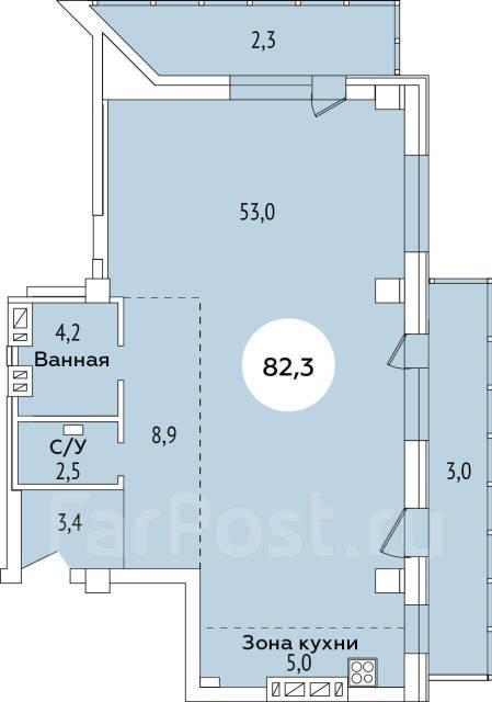 3-комнатная, улица Полетаева 6. Седанка, застройщик, 82кв.м. План квартиры
