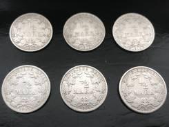 1/2 марки. Германская империя. 1905 A+D+E+F+G+J. Серебро