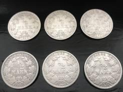 1/2 марки. Германская империя. 1906 A+D+E+F+G+J. Серебро