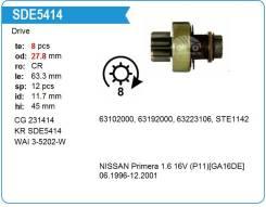 Бендикс стартера, обгонная муфта стартера. Nissan Primera, P11E, WP11E Двигатели: CD20T, GA16DE, QG16DE, QG18DE, SR20DE, SR20DEH, SR20DEL