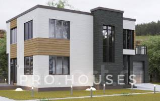 Проект Двухэтажного дома с плоской крышей(газоблок, тереховский блок). 100-200 кв. м., 2 этажа, 3 комнаты, комбинированный