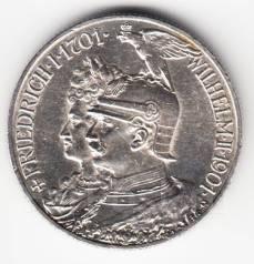"""Германия - Пруссия 2 марки 1901 """"200 лет Пруссии"""" Серебро"""