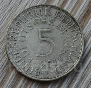ФРГ 5 марок 1951 год серебро