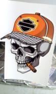 """Стикер на шлем череп """"Hillbilly"""" . Винил 10см"""