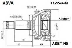 ШРУС наружный 49500-1F500/KA-NS4A48 ASVA