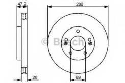 Тормозной диск Bosch 0986479460 Hyundai / Kia (Mobis): 517121H000 517121H100 51712-1M000 517122K100 517121D100 BD1324 Hyundai Elantra (Fd). Hyundai