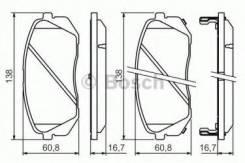 Комплект тормозных колодок дисковый тормоз Bosch 0986494422 Hyundai / Kia (Mobis): 581012SA50 581013ZA10 581013ZA70 581010ZA00 581011DE00 581012SA70