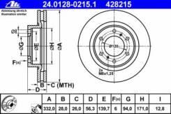Тормозной диск Ate 24.0128-0215.1 Mitsubishi: 4615A038 428215 Mitsubishi Montero Classic (V2_W). Mitsubishi Montero Iv (V8_W V9_W). Mitsubishi