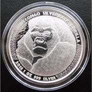 5000 франков КФА.2018г. Конго. Горилла. Серебро. Proof LIKE.