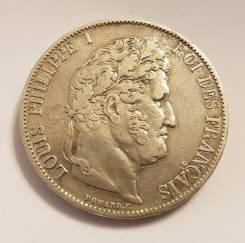 5 франков. Франция.1846 А. Луи Филипп I. Серебро. VF+
