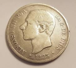 Испания 5 песет 1883 г. серебро VF
