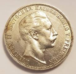 3 марки 1909 А, Пруссия, серебро, оригинал