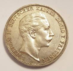 3 марки 1910 А, Пруссия, серебро, оригинал