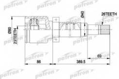 Шрус внутр прав к-кт ford: focus 98 - 04 focus универсал 99 Patron PCV5011 Ford: 1141768 3652045 Ford Focus Clipper (Dnw). Ford Focus (Daw Dbw). Ford