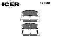 Комплект тормозных колодок диско Icer 180981 Chrysler: MB857336. Dodge: MB857336. Mitsubishi: MB407659 MB857335 MB950350 MR129433 MR569780 MR129438