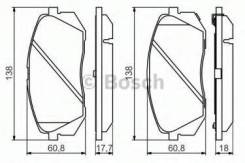 Комплект тормозных колодок дисковый тормоз Bosch 0986494559 Hyundai / Kia (Mobis): 581012YA50 581012YA00 581013ZA10 581013ZA70 E990R02A08703755 24501