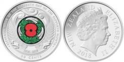 Новая Зеландия 50 центов 2018 г.100 лет окончания I-й Мировой войны.
