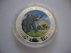 100 шиллингов.2009г. Сомали. Слон. Серебро. Сертификат! Тираж 5000 шт!