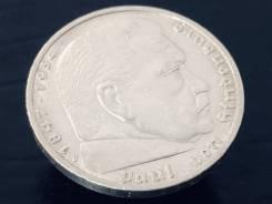 5 рейхсмарок. Третий Рейх. 1937 F (Штутгарт). Орёл над венком. Серебро