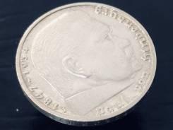 5 рейхсмарок. Третий Рейх. 1937 J (Гамбург). Орёл над венком. Серебро