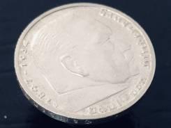 5 рейхсмарок. Третий Рейх. 1938 G (Карлсруэ). Орёл над венком. Серебро