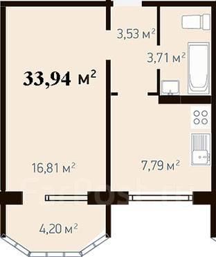 1-комнатная, улица Адмирала Горшкова 40. Снеговая падь, застройщик, 34кв.м.