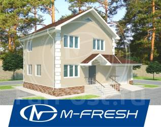 M-fresh Elegance (Проект дома со встроенным гаражом). 100-200 кв. м., 2 этажа, 4 комнаты, бетон