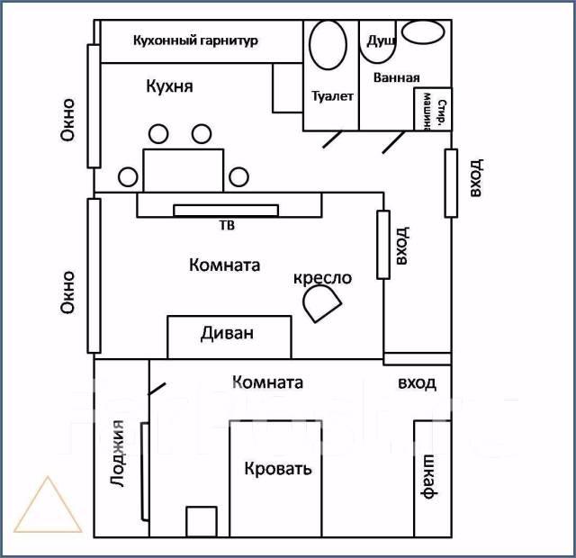 2-комнатная, улица Некрасовская 84. Некрасовская, 54кв.м. План квартиры