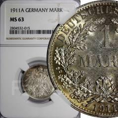 1 марка. Германская империя. 1911 A (Берлин). NGC MS63. Серебро