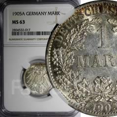 1 марка. Германская империя. 1905 A (Берлин). NGC MS63. Серебро