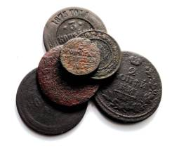 Подборка монет от Анны до Николая II 17-20 вв - 6 шт.