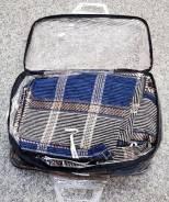 Чехол комплект сине-бежевые клетка ткань прочная гобилен PL-28