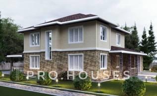 Проект двухэтажного дома с гаражом(Газоблок, Тереховский блок, Отсев. ). 200-300 кв. м., 2 этажа, 4 комнаты, комбинированный