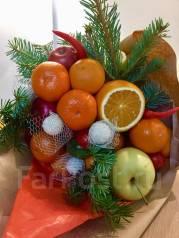 Букеты на Новый год (фруктовые, мясные, рыбные, шоколадные) от 800 руб
