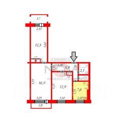 3-комнатная, проспект Ленина 82. Привокзальный, центральный округ, агентство, 61кв.м.