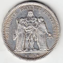 "Франция 5 франков 1873 А ""Геркулес и нимфы"" Серебро"