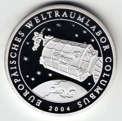 """Германия медаль 2004 """"Космическая станция Колумбус"""" Серебро"""