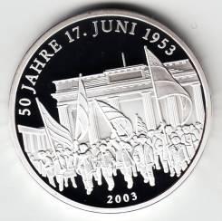"""Германия медаль 2003 """"50 лет восстанию"""" Серебро"""